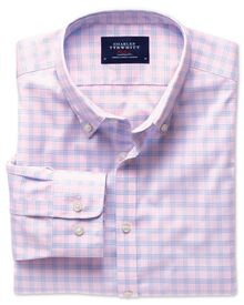 Extra slim fit pink and sky check non-iron poplin shirt