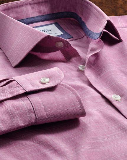 Slim fit semi-cutaway collar business casual slub cotton pink shirt