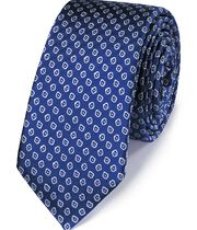 Royal and white silk slim diamond neat classic tie