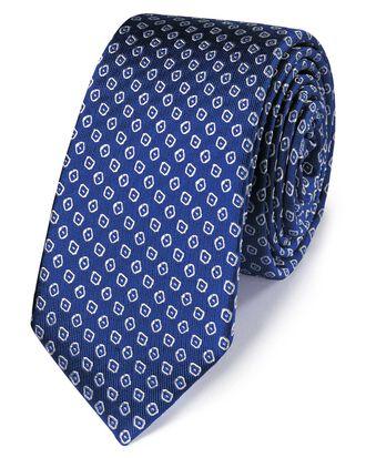 Cravate classique slim bleu roi et blanche en soie impeccable à motif losanges