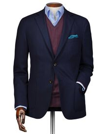 Slim fit navy travel blazer