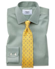 Classic fit non-iron puppytooth olive green shirt