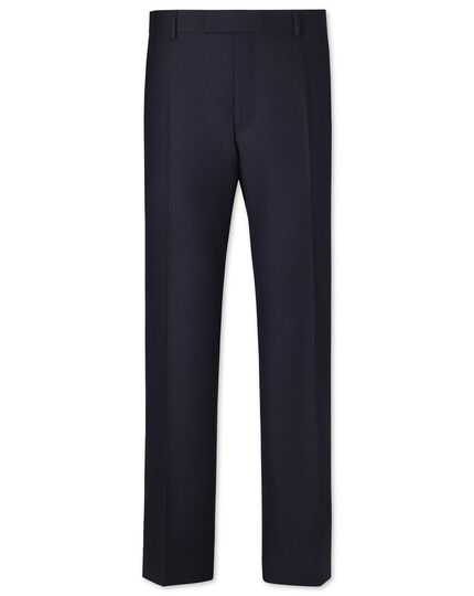Navy classic fit British hopsack luxury suit trousers
