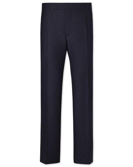 Navy classic fit British hopsack luxury suit pants