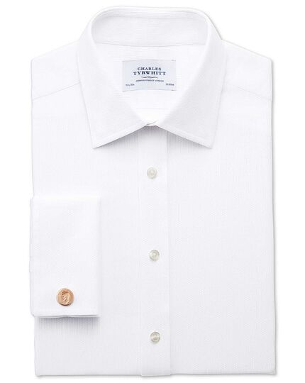 Classic fit Egyptian cotton diamond texture white shirt