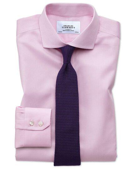 Slim fit spread collar non iron puppytooth light pink shirt