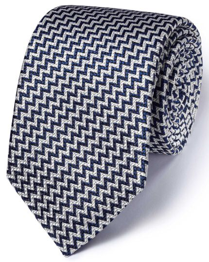Dark navy silk English luxury end-on-end tie