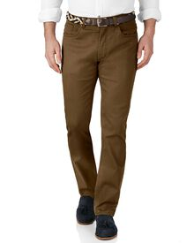 Brown slim fit stretch pique 5 pocket pants