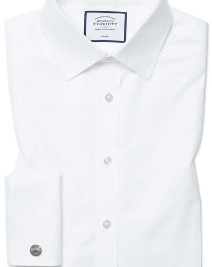 Classic fit non-iron twill white shirt