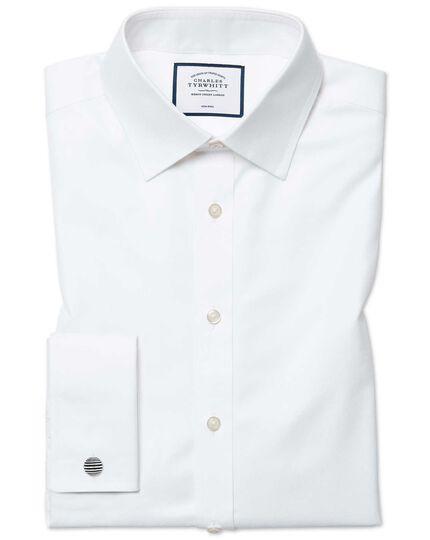 Extra slim fit non-iron twill white shirt
