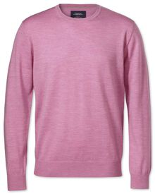 Light pink merino wool crew neck jumper