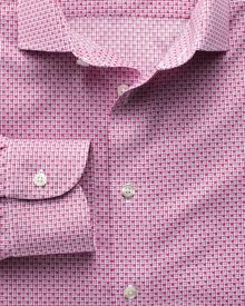 Slim fit semi-spread collar non-iron business casual grid check magenta shirt