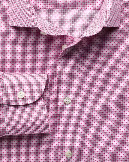 Slim fit semi-spread collar non-iron business casual grid check magneta shirt