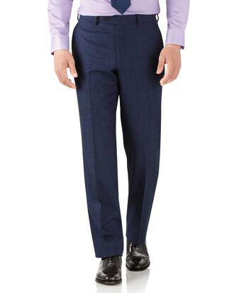 Royal blue classic fit flannel business suit pants