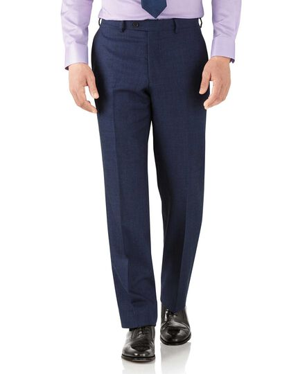 Royal blue classic fit flannel business suit pants