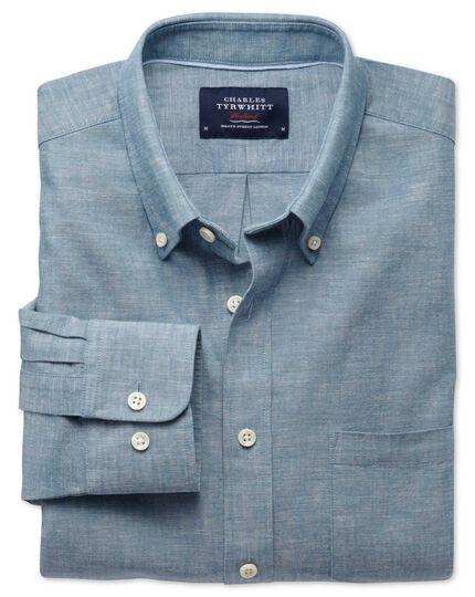 Slim fit petrol blue chambray shirt