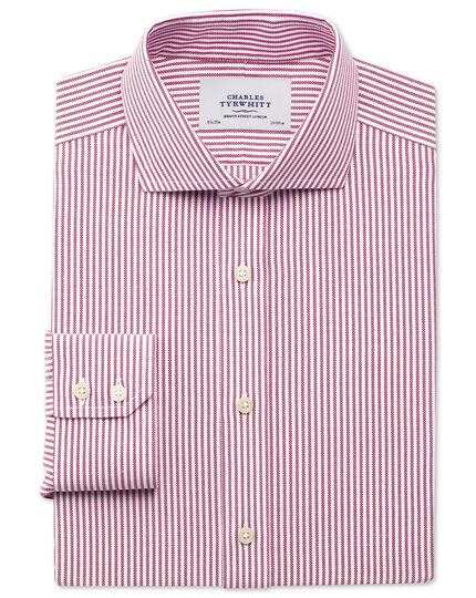 Slim fit non-iron royal Oxford stripe spread berry shirt