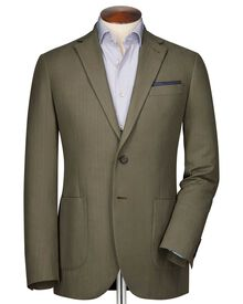 Classic fit khaki herringbone jacket