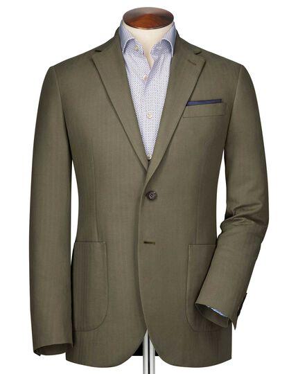 Classic fit khaki herringbone jacket
