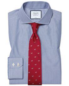 Bügelfreies Extra Slim Fit Hemd mit Haifischkragen in marineblau mit Bengal-Streifen