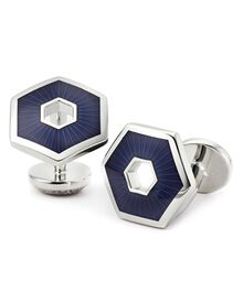 Navy hexagon cufflinks