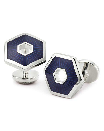 Navy hexagon cuff links