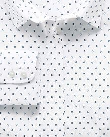 Women's semi-fitted non-iron cotton circle print white and navy shirt