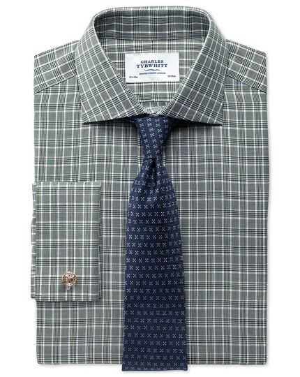 Slim fit Prince of Wales basketweave green shirt
