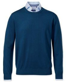 Pull bleu en laine mérinos avec col rond