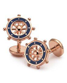 Navy wheel cuff links