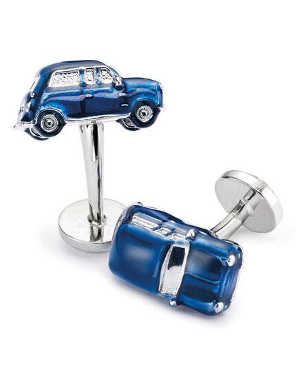 Boutons de manchette bleu marine avec voitures de collection