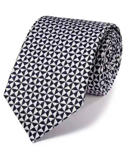 Navy silk luxury English end-on-end tie
