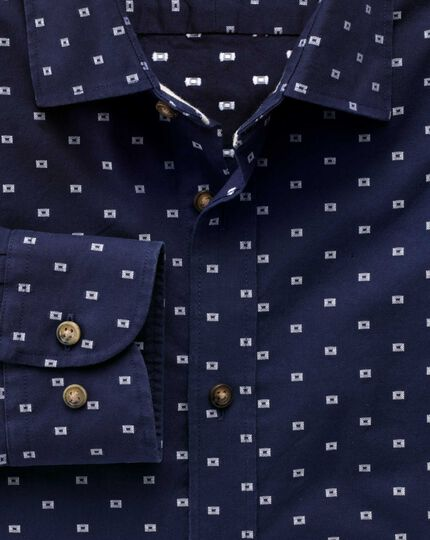 Classic fit navy and white dobby shirt