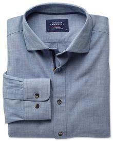 Slim Fit Hemd mit halber Knopfleiste und Haifischkragen in himmelblau