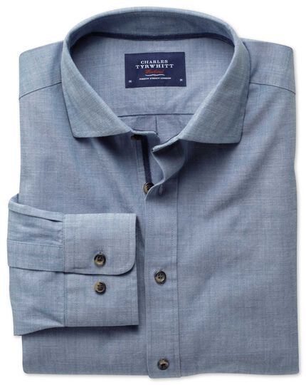 Slim fit cutaway collar popover sky blue shirt