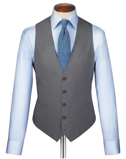 Silver twill business suit waistcoat