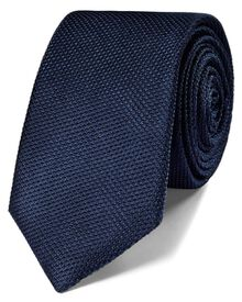 Navy silk classic plain slim tie