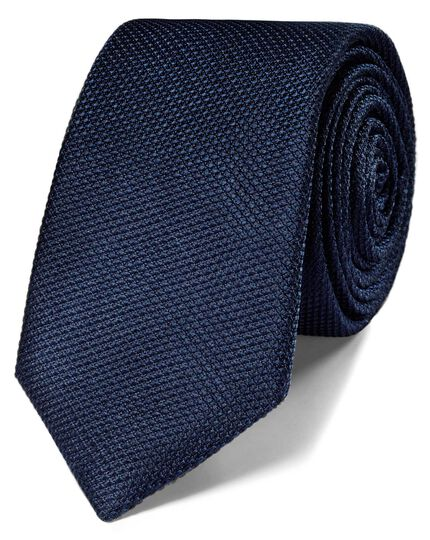 Navy silk classic plain slim tie