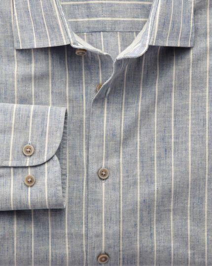Classic fit denim blue stripe textured shirt