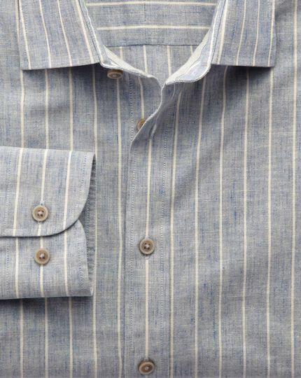 Slim fit denim blue stripe textured shirt