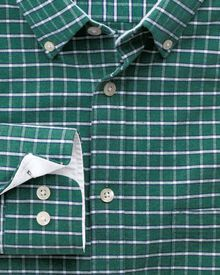 Slim fit green melange check washed Oxford shirt