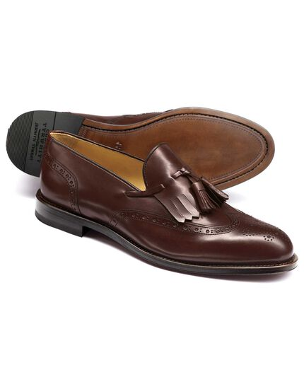 Brown Seaton wing tip brogue tassel loafers