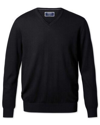 Black merino wool v-neck jumper