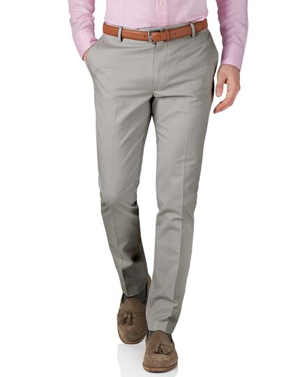 Silver grey extra slim fit flat front non-iron chinos