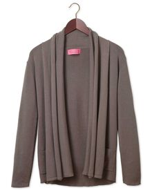 Women's brown cotton cashmere waterfall cardigan
