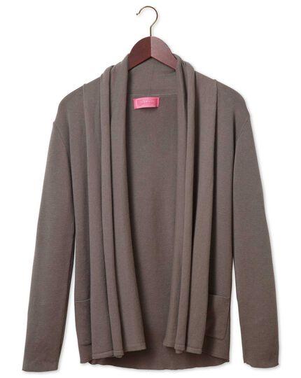 Women's brown cotton cashmere waterfall cardigan