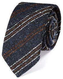 Dark blue wool mix rustic stripe luxury tie