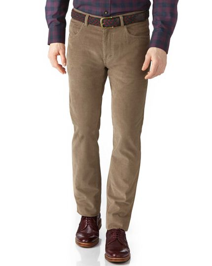 Natural slim fit stretch 5 pocket needle cord trouser