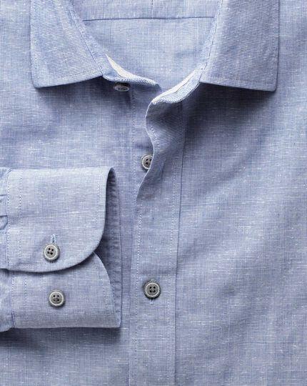 Classic fit slub cotton blue shirt