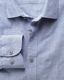 Extra slim fit slub cotton blue shirt